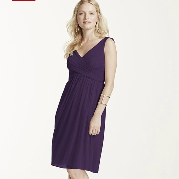 cheap for discount uk availability great quality David's Bridal Short Bridesmaid Dress is Lapis